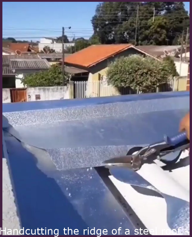 Handcutting the ridge of a metal roof