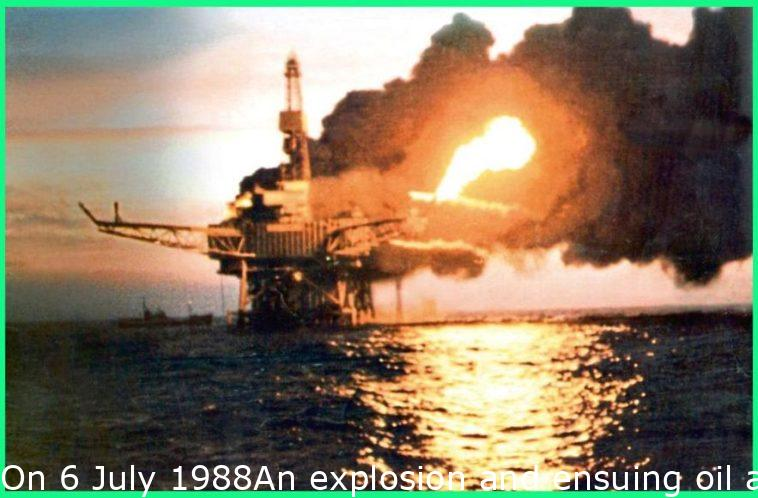 On 6 July 1988An explosion and resulting oil and gas fires destroyed Piper Alpha, killing 167 men, including two crewmen of a rescue vessel; 61 workers escaped and survived. Thirty bodies were never recovered. The total insured loss was about £1.7 billion.