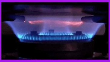 Ring of fire in a kitchen stove flame.